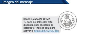 Noticias Chile | Alerta por falso mensaje estafa que circula sobre bono de $100.000 de Banco Estado