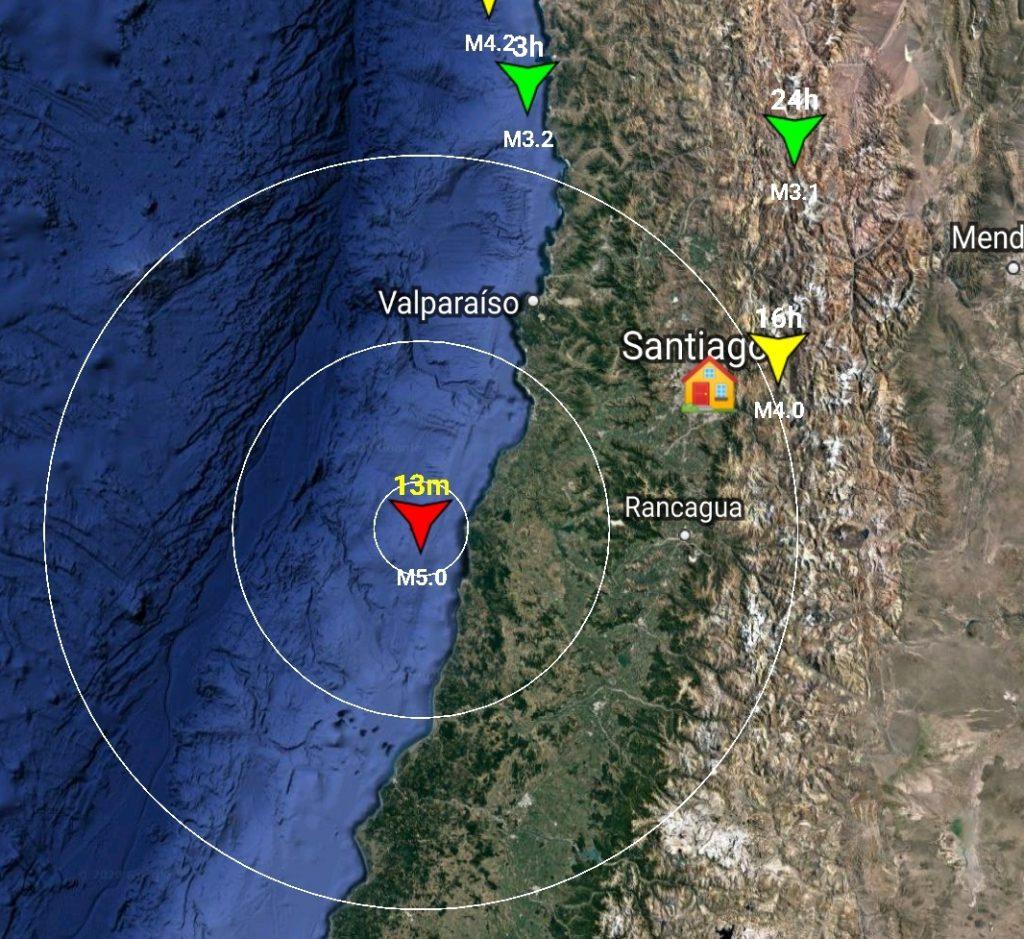 Noticias Chile | Sismo de magnitud 5.0 se registra en la zona central de Chile