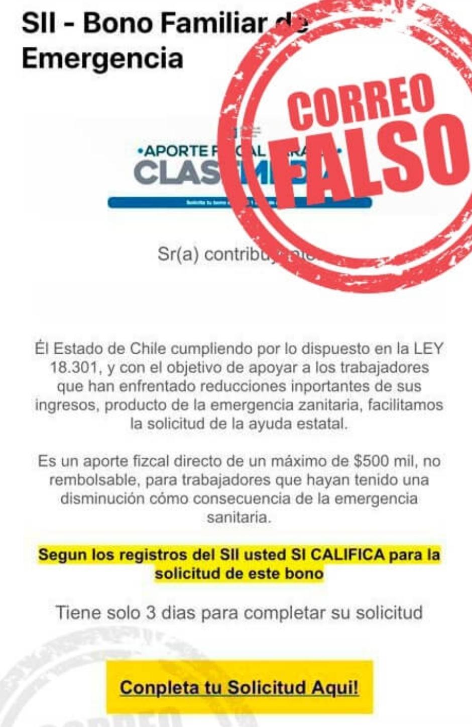 Noticias Chile | SII emite una alerta por peligroso correo electrónico que busca estafar a la población por el bono de $500 mil