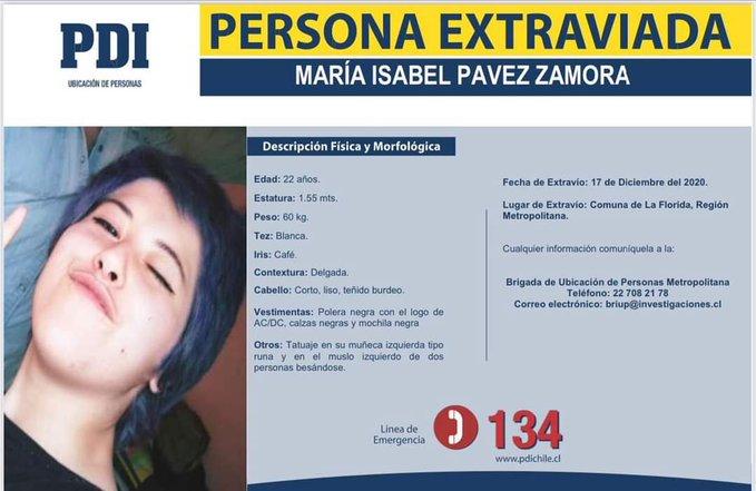Noticias Chile   Encuentran cuerpo sin vida de María Isabel Pavez, desaparecida en La Florida