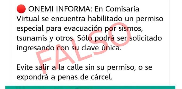 Noticias Chile | Falsa cuenta de la ONEMI, viralizó que hay que sacar permiso en caso de terremoto o tsunami