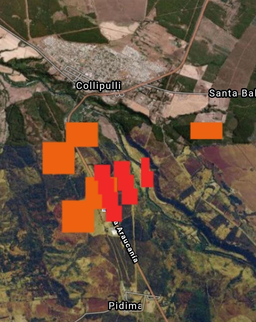 Noticias Chile | Incendio forestal fuera de control amenaza con quemar viviendas en Collipulli