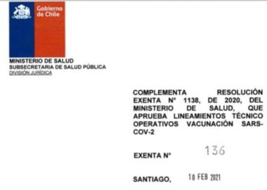 Noticias Chile   Gobierno firma resolución, donde indica que no se vacunará a extranjeros