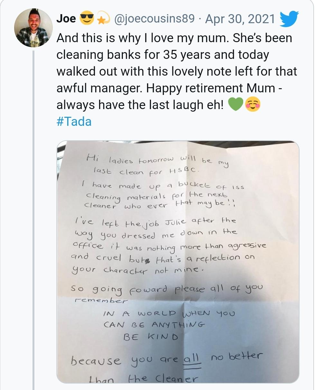 """Trabajadora de la limpieza se jubila y deja una carta a su exjefa: """"Fuiste agresiva y cruel"""""""