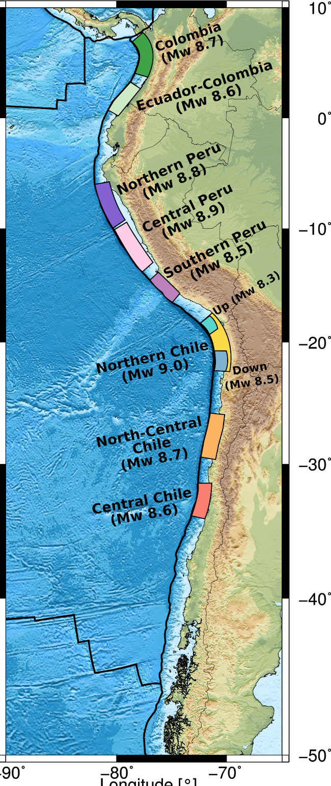En esta figura se aprecian, con distintos colores, las áreas de ruptura sísmica esperadas por cada zona (gap). Cada una de ellas aparece con distinto tamaño, lo que indica la magnitud del evento y del tsunami esperado.