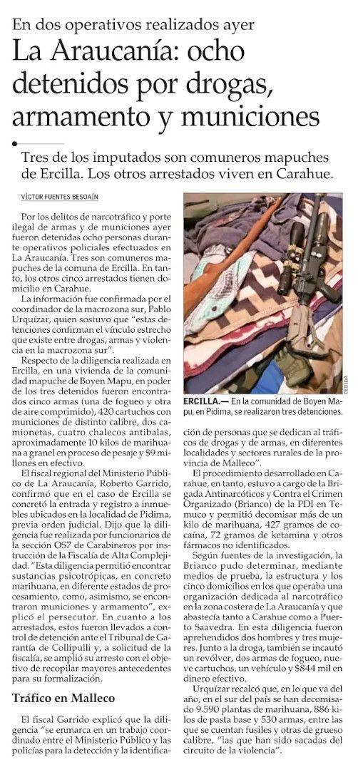 Gobierno logra gran incautación de drogas y armamento de guerra en comunidad Mapuche en Ercilla https://www.elinformadorchile.cl/2021/09/10/gobierno-logra-gran-incautacion-de-drogas-y-armamento-de-guerra-en-comunidad-mapuche-en-ercilla/